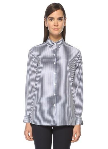 İngiliz Yaka Çizgili Desenli Klasik İpek Gömlek -Beymen Club